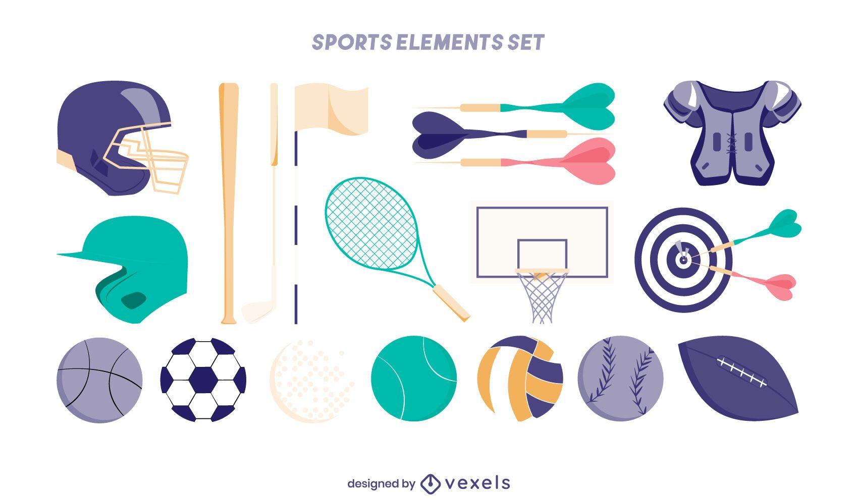 Conjunto de elementos de esportes