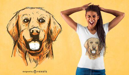 Desenho de camiseta dourada desenhada à mão