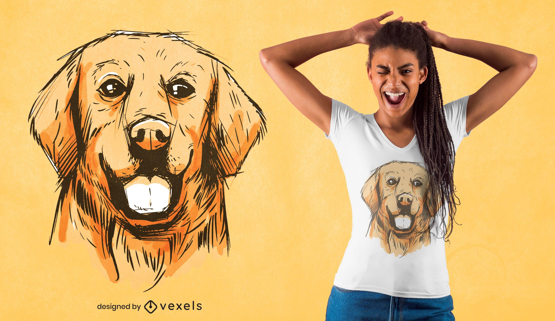 Hand gezeichnetes goldenes T-Shirt Design
