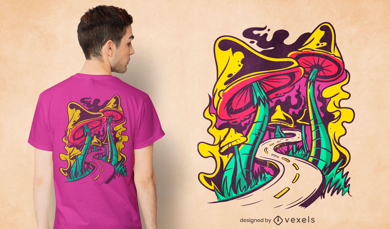 Trippy mushroom road t-shirt design
