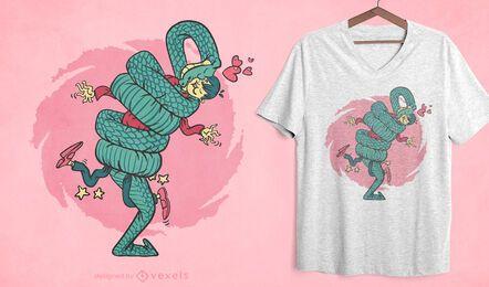 Diseño de camiseta de abrazo de serpiente