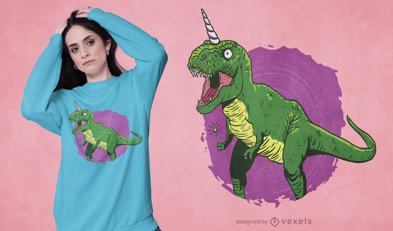 Design de t-shirt de unicórnio de dinossauro fada
