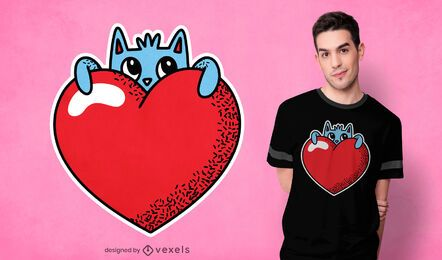 Cute heart cat t-shirt design