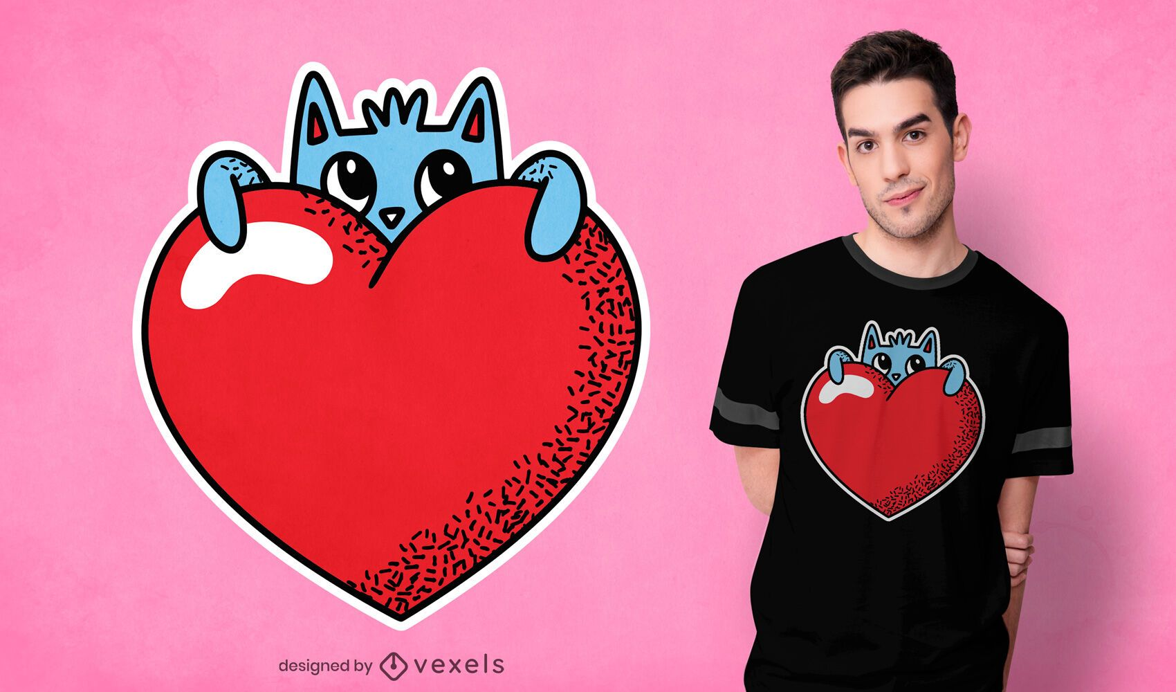 Diseño lindo de la camiseta del gato del corazón