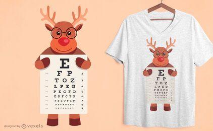 Diseño de camiseta de gráfico ocular de reno