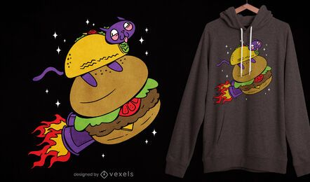 Diseño de camiseta taco cat burger