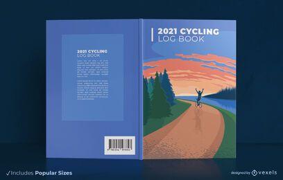 Diseño de portada de libro de registro de ciclismo 2021