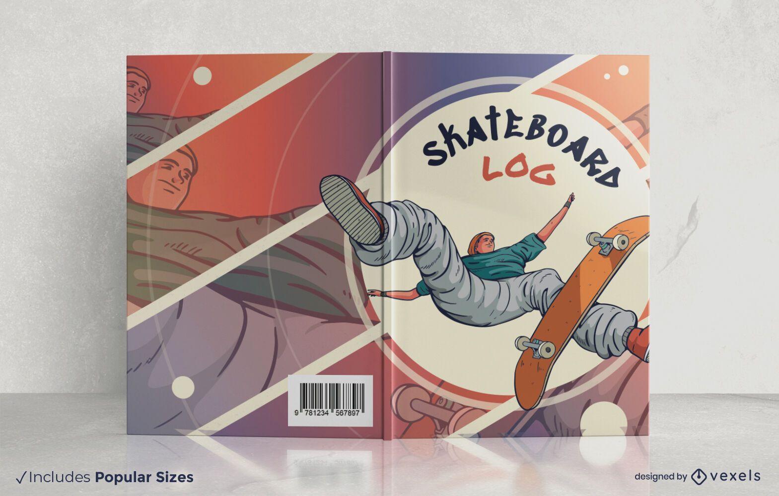 Design da capa do livro de registro de skate