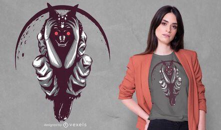 Diseño de camiseta de hombre lobo malvado