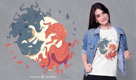 Diseño de camiseta de lobo yin yang