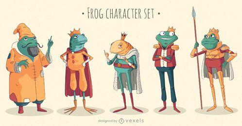 Conjunto de caracteres de rana de cuento de hadas