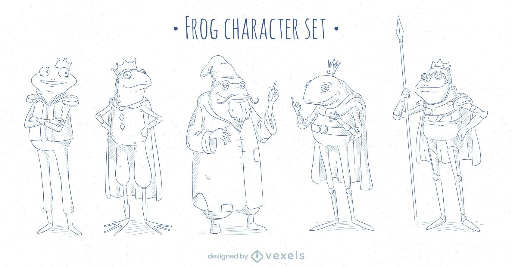 Fairytale frog character stroke set