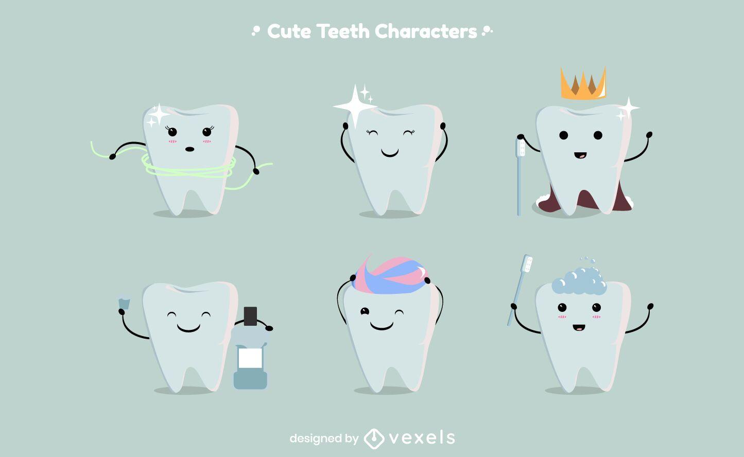 Cute teeth character set