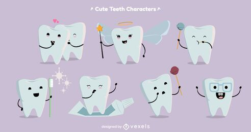 Cute tooth character set