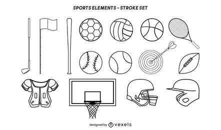 Sports elements stroke set