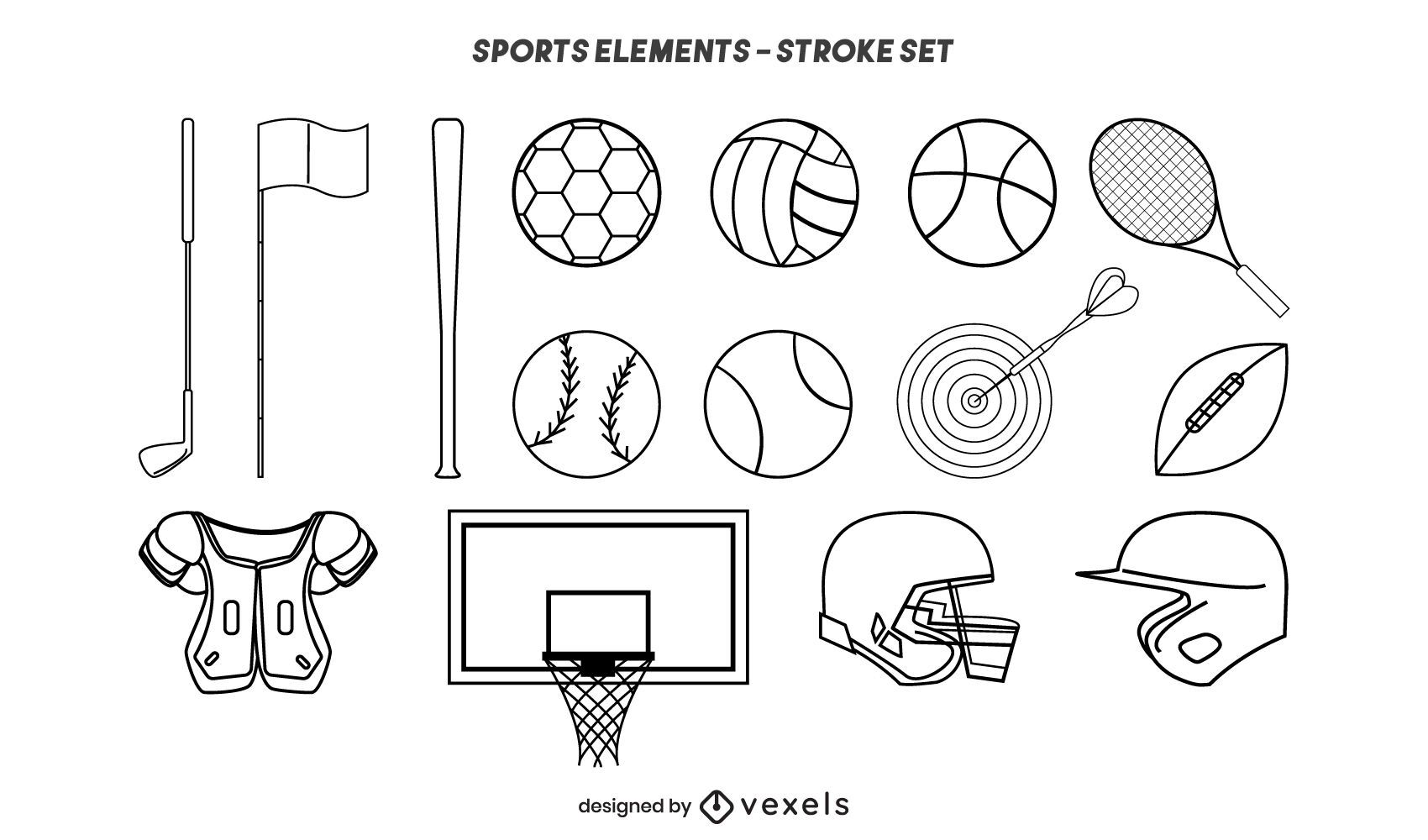 Sports elements stroke set