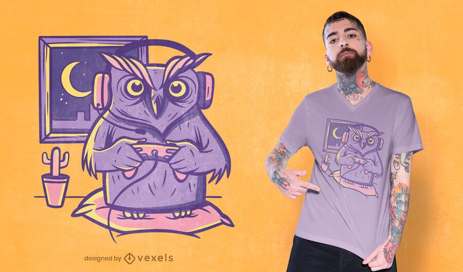 Diseño de camiseta gamer owl