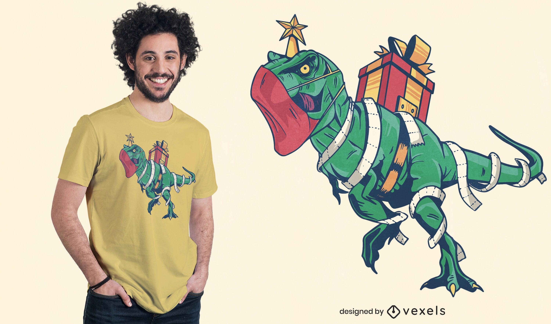 Diseño de camiseta navideña t.rex