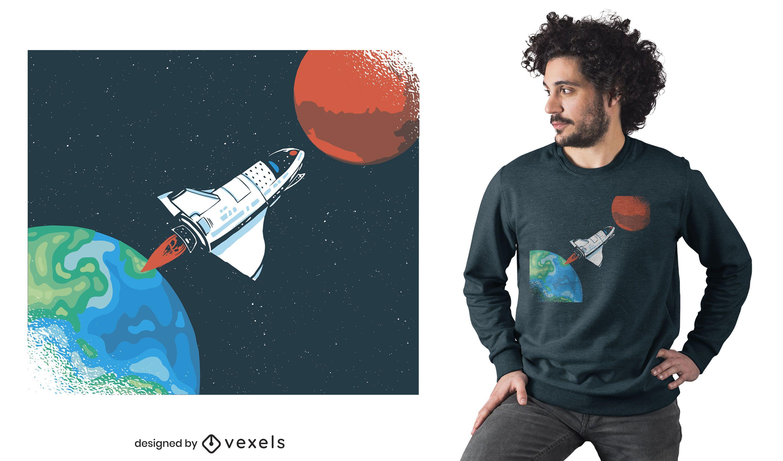 Diseño de camiseta de nave espacial tierra.