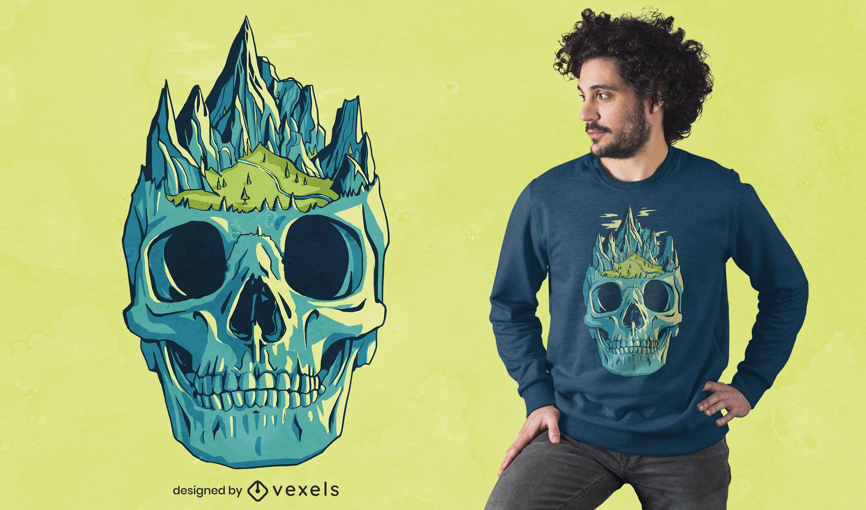 Design de camiseta com montanhas de caveira