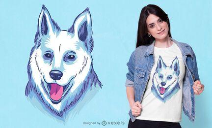 Diseño de camiseta de pastor blanco