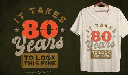 Años para lucir bien el diseño de la camiseta