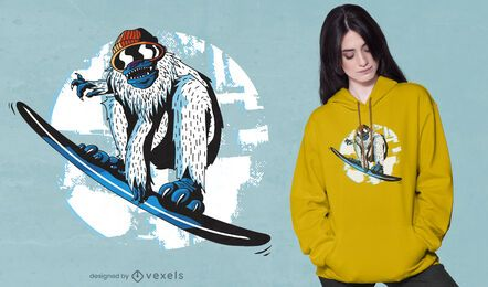 Design de camiseta de snowboard yeti