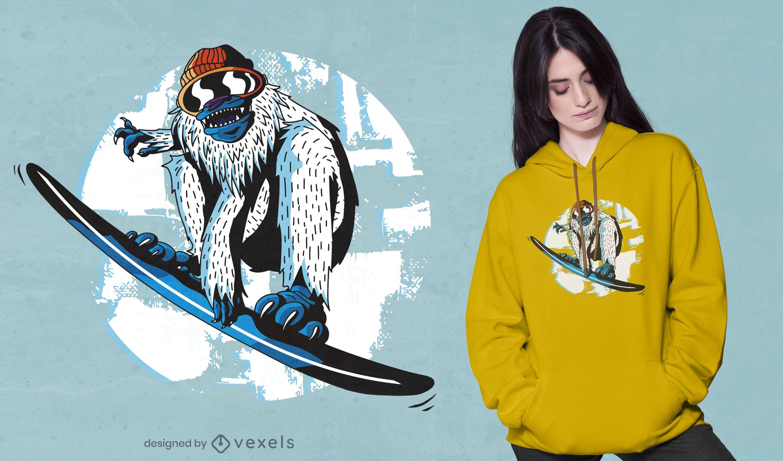 Snowboarding yeti t-shirt design