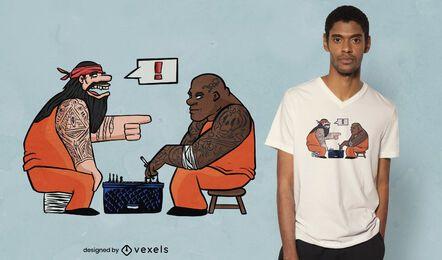 Reclusos jugando diseño de camiseta de juego.