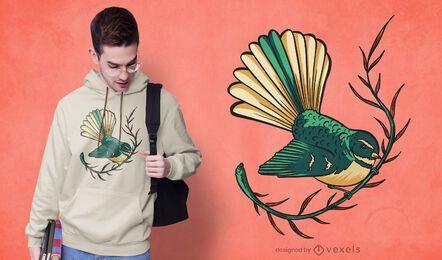Diseño de camiseta de pájaro cola de abanico