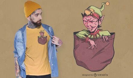 Diseño de camiseta de bolsillo elfo malvado