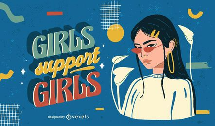 Girls support girls illustration
