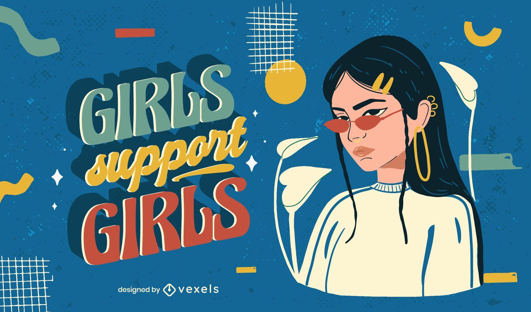 Girls support girls illustration