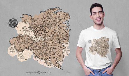 Desenho de t-shirt de cartografia