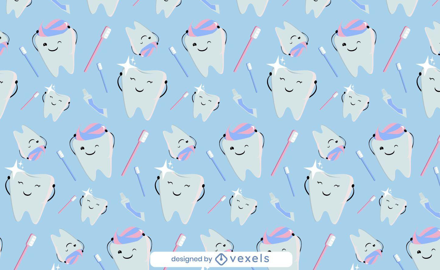 Cute teeth toothpaste pattern design