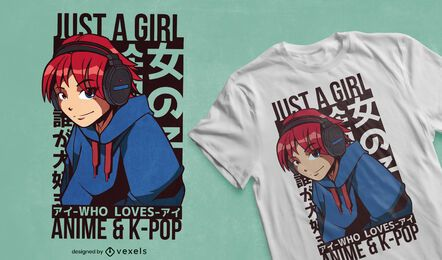 Girl loves anime & kpop t-shirt design