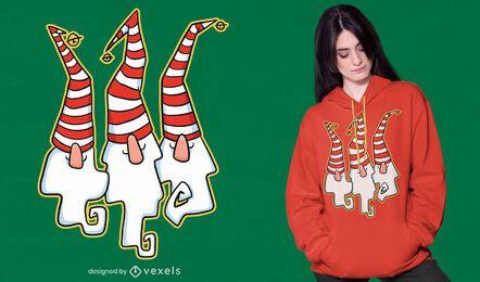 Diseño de camiseta de gnomos navideños.