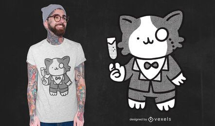 Diseño de camiseta de gato tux