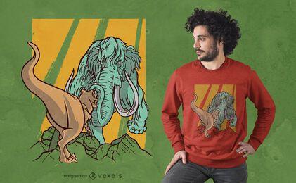 Design de t-shirt Mammoth vs t-rex