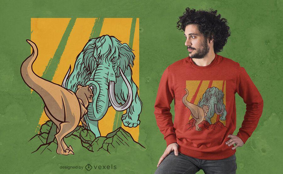 Mammoth vs t-rex t-shirt design