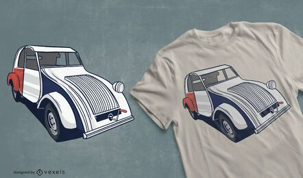 Diseño de camiseta de coche francés