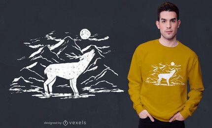 Diseño de camiseta de ciervo aullando