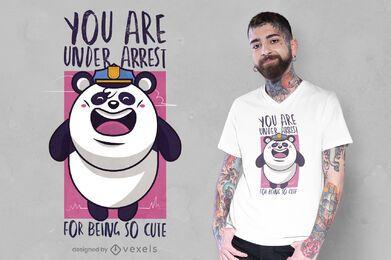 Lindo diseño de camiseta de policía panda