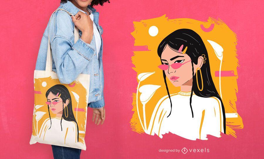 Cool woman tote bag design