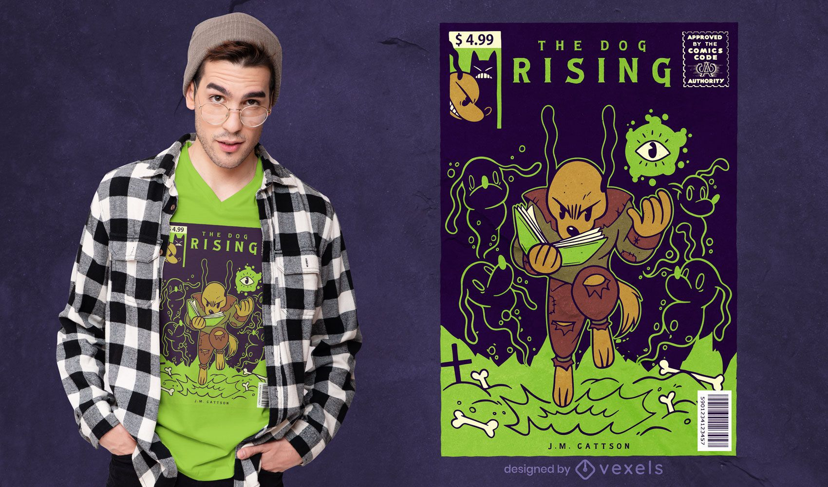 Comic cover dog t-shirt design