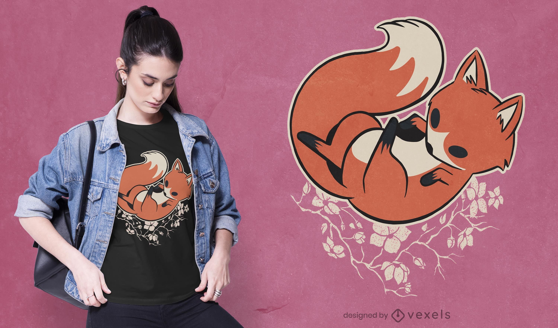 Design de camiseta Fox sakura