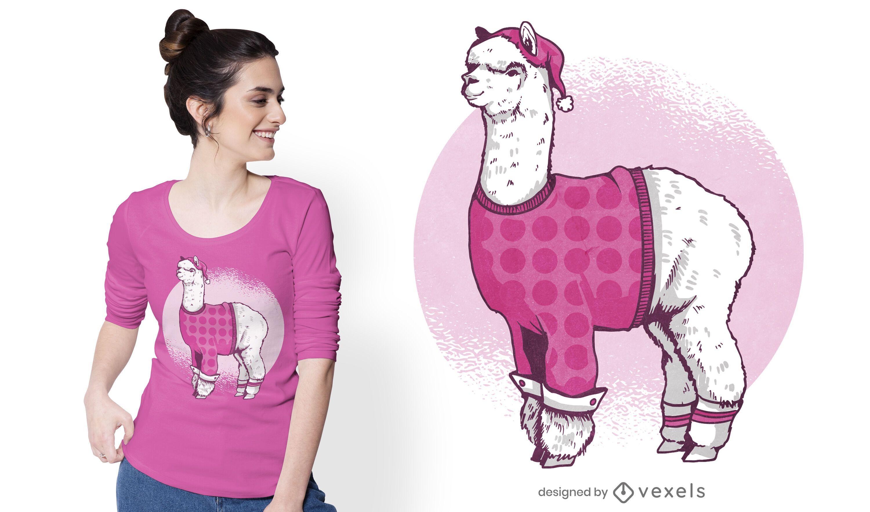 Diseño de camiseta pijama llama