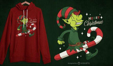 Diseño de camiseta de elfo de bastón de caramelo