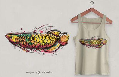 Diseño de camiseta de acuarela Arowana