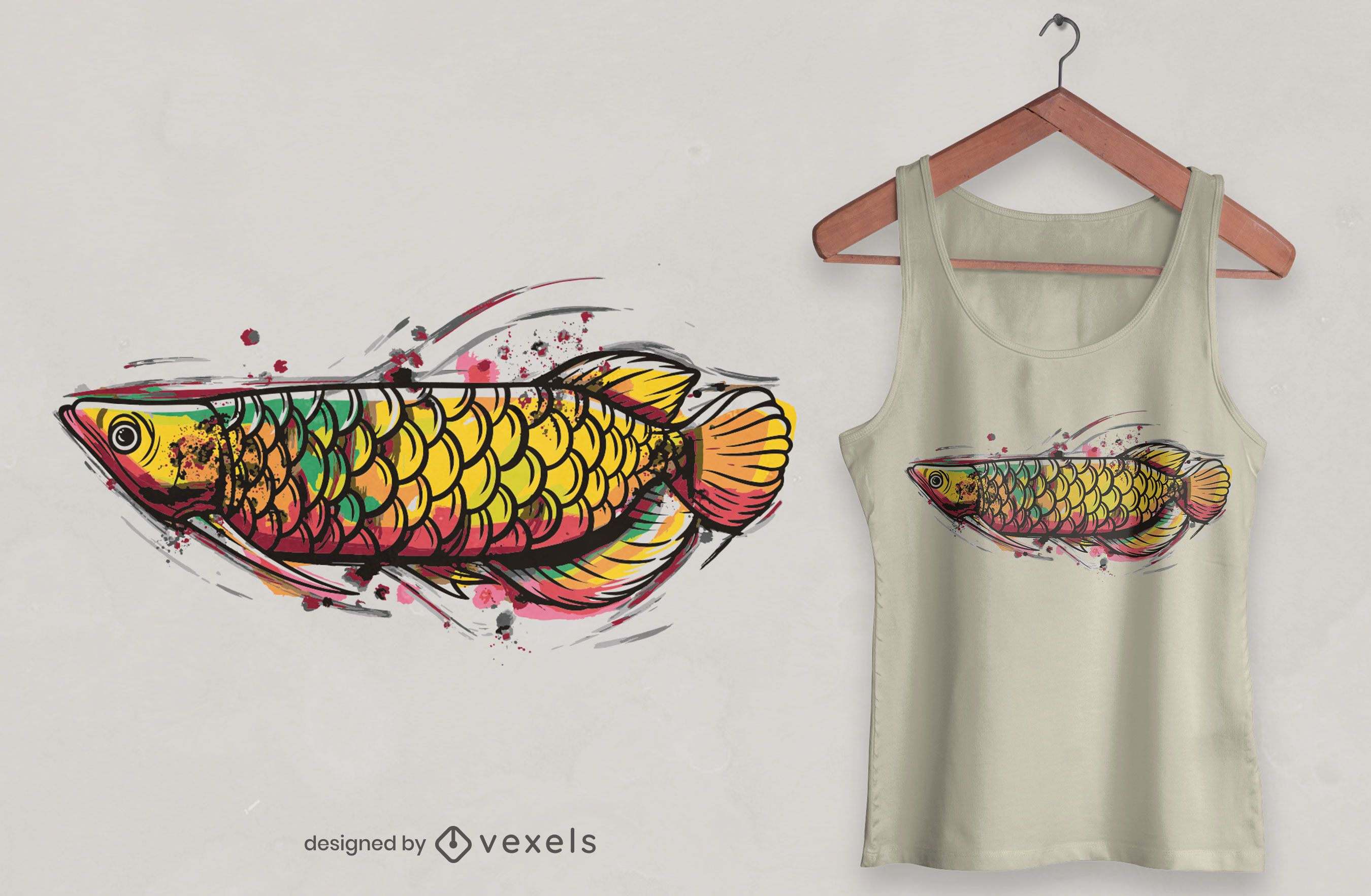 Arowana watercolor t-shirt design